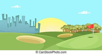 style, golf, bannière, cours, horizontal, dessin animé