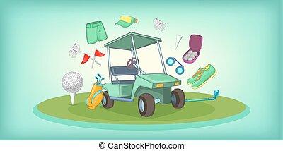 style, golf, bannière, symboles, horizontal, dessin animé