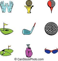 style, golf, icônes, ensemble, champ, dessin animé