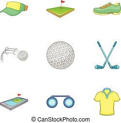 style, golf, icônes, ensemble, jeu, dessin animé