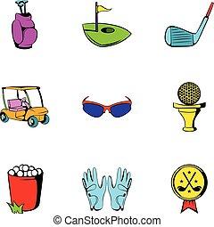 style, golf, icônes, ensemble, voiture, dessin animé