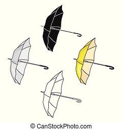 style, golf, illustration., dessin animé, club, symbole, isolé, arrière-plan., vecteur, icône, blanc, parasol, stockage