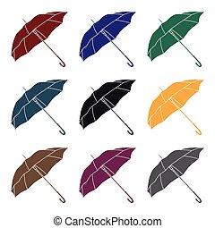 style, golf, illustration., icône, club, symbole, isolé, arrière-plan., vecteur, noir, blanc, parasol, stockage