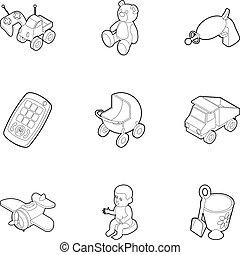 style, gosses, contour, icônes, ensemble, jeux, amusement