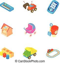 style, gosses, icônes, ensemble, jeux, amusement, dessin animé