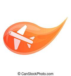 style, goutte, avion air, icône, dessin animé
