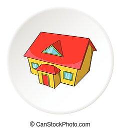 style, grenier, maison, grand, icône, dessin animé