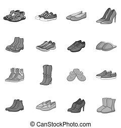 style, gris, ensemble, monochrome, chaussure, icônes