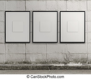 style, grunge, cadre mur, moderne, vide
