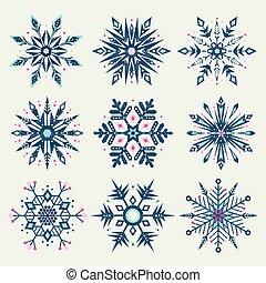 style, grunge, hiver, coloré, set., forme, flocons neige