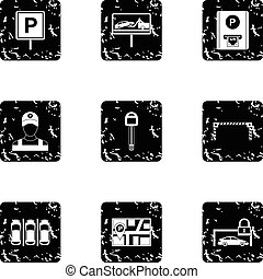 style, grunge, icônes, ensemble, station, stationnement
