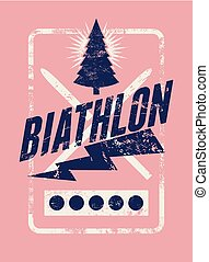 style, grunge, illustration., vendange, biathlon, vecteur, retro, typographical, poster.
