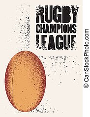 style, grunge, illustration., vendange, vecteur, retro, typographical, rugby, poster.