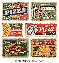 style, grunge, nourriture, vendange, set., métal, texture, vecteur, retro, signes, affiches, 50s, pizza