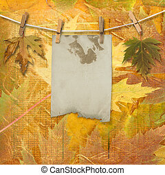 style, grunge, papiers, scrapbooking, conception, feuillage