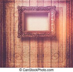 style, grunge, salle, intérieur, cadres, vieux, baroque