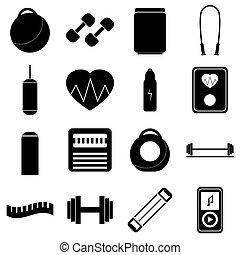 style, gymnase, ensemble, icônes, plat