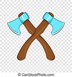 style, haches, deux, traversé, icône, dessin animé