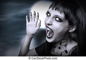 style, halloween., gothique, vampire