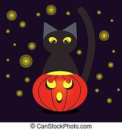style, halloween., illustration, chat, lumières, noir, nuit, fireflies., dessin animé, citrouille