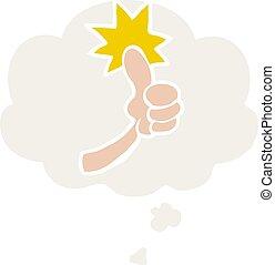 style, haut, signe, pensée, pouces, bulle, dessin animé, retro