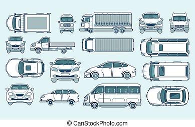 style, hayon, voiture, minibus, côté, jaune, caravane, livraison, sommet, camion, lumière, sedan, camion, ligne, devant, vue