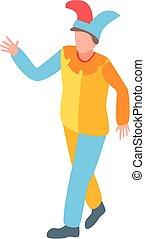 style, heureux, icône, clown, isométrique