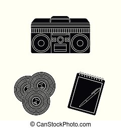 Style Hipster black icons in set collection for design....