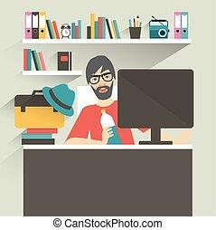 style., hipster, diseñador, oficina, hombre, vector, plano, ...