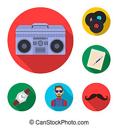 Style Hipster flat icons in set collection for design....