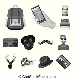 Style Hipster monochrome icons in set collection for design....