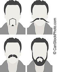 style, hommes, -, avatars, figure, moustache, barbe