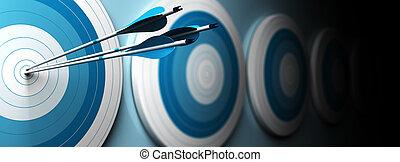 style, horizontal, bannière, bleu, une, flèches, trois, beaucoup, centre, cibles, premier, frapper, image