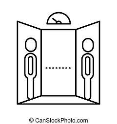 style, humains, ligne, icône, distance, social, ascenseur