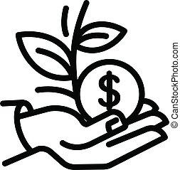 style, icône, argent, garder, contour, plante