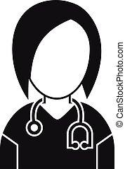 style, icône, clinique, infirmière, simple