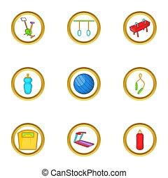 style, icône, dessin animé, équipement salle gymnastique, ensemble