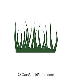style, icône, dessin animé, herbe verte