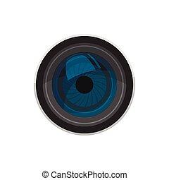 style, icône, dessin animé, lentille appareil-photo