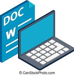 style, icône, doc., fichier, isométrique