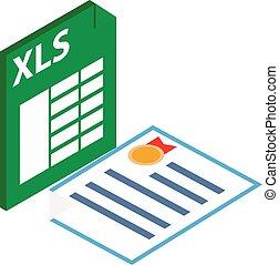 style, icône, fichier, xls, isométrique