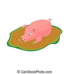 Tr s mignon flaque porcin illustration clip art - Dessin cochon debout ...