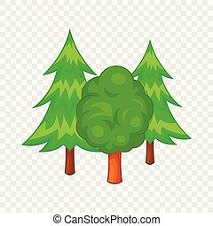 style, icône, forêt, arbres, dessin animé