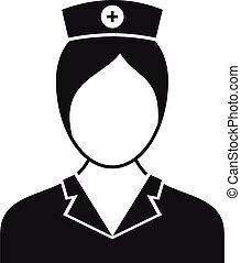 style, icône, gens, infirmière, simple
