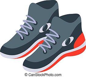 style, icône, isométrique, chaussures, lancer