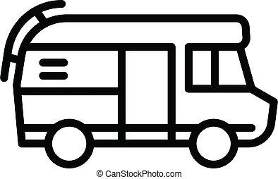 style, icône, motorhome, contour, camping car