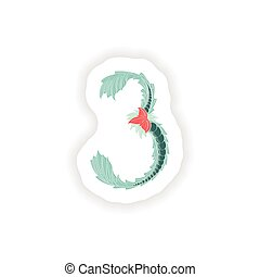 style, icône, résumé, 3, logo, exotique, bleu, stiker, nombre
