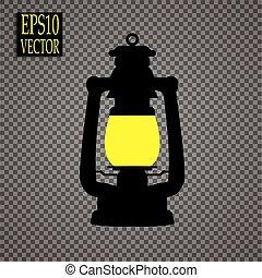 style, icône, symbole, mine, illustration, isolé, arrière-plan., vecteur, noir, blanc, lanterne, stockage