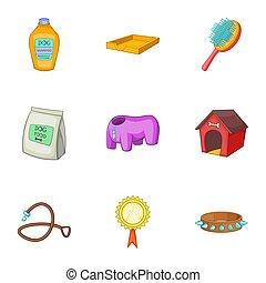 style, icônes, chouchou, ensemble, dessin animé, soin