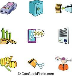 style, icônes, enchère, vente, ensemble, dessin animé